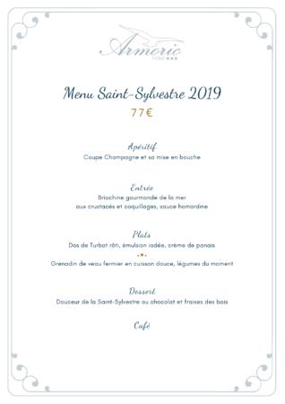 Découvrez le menu de la saint sylvestre de l'armoric hotel à Bénodet