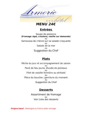 Menu à 24€ au restaurant à Bénodet l'Armoric Hôtel