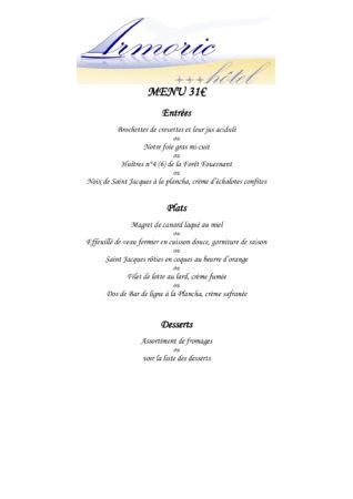 Découvrez le menu à 31€ à l'Armoric Hôtel